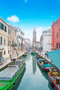 Venice canal under a blue sky Royalty Free Stock Photo
