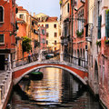 Venice canals scenic canal with bridge italy Stock Images