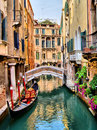 Venice canals scenic canal with gondola italy Royalty Free Stock Image