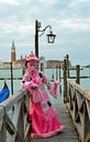 Venice carnival march a participant in st mark s square during the of on march the is held from february th to Royalty Free Stock Photography