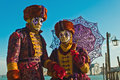 Venice carnival masks colors and atmosphere and characters of the of Royalty Free Stock Photo