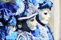 Venice carnival 2017. Venetian Carnival Costume. Venetian Carnival Mask. Venice, Italy. Venetian blue carnival costume. Royalty Free Stock Photo