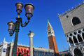 Venice cityscape the bell tower of st mark s basilica and doge s palace in italy Royalty Free Stock Photo