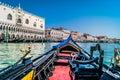 Venice cityscape from gondola, Italy. Royalty Free Stock Photo