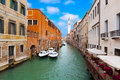 Venice cityscape narrow water canal and traditional buildings italy europe Royalty Free Stock Photos