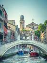 Venice cityscape, small bridge, narrow water canal Royalty Free Stock Photo