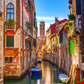 Venice cityscape water canal campanile church and traditional narrow on background buildings italy europe Stock Photography