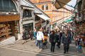 Venice at daytime the rialto bridge is often pictures from the outside but the bridge is very popular of what is inside the bridge Stock Photo