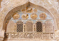 Venice exterior reliefs from portal of st mark cathedral with the four evangelists symbols italy march Royalty Free Stock Photo