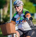 VENICE, FL - APRIL 24 - Many cyclists did not go fast, just relaxed in the Sharky Ride the Beaches event in Englewood and Venice Royalty Free Stock Photo