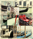 Venice gondola collage elegant of and architectonic details of italy Stock Photography