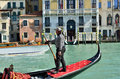Venice gondola mar at grand canal on october in italy there were several thousand gondolas in the th century with only Royalty Free Stock Photos