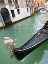 Venice gondolas a detailed view of a gondola on the small town canal Stock Image