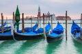 Venice gondolas in the grand canal looking across to san giorgio di maggiore Stock Photo