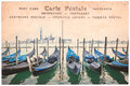 Venice gondolas, Italy, collage on vintage sepia postcard background, word postcard in several languages Royalty Free Stock Photo