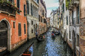 Venice gondolas in narrow alley colorful canal with italy Stock Photo