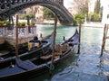 Venice gondolas at a pier in Stock Photography