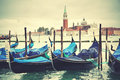 Venice gondolas and san giorgio maggiore church in the background italy Royalty Free Stock Photography