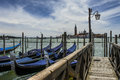 Venice gondolas and san giorgio maggiore view of church with parked in italy Stock Images
