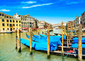 Venice grand canal gondolas or gondole and rialto bridge italy on background Royalty Free Stock Image