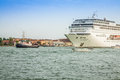 Venice italy august the cruise ship crosses the venetia venetian lagoon on a sunny spring day Stock Photography