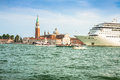 Venice italy august the cruise ship crosses the venetia venetian lagoon on a sunny spring day Royalty Free Stock Image