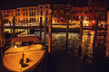 VENICE, ITALY - AUGUST 21, 2016: Famous architectural monuments, ancient streets and facades of old medieval buildings at night Royalty Free Stock Photo