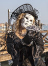 Venice italy february portrait woman wearing beautiful specific costume near gondola s dock san marco square venice carnival days Stock Image