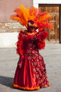 Venice italy february portrait woman wearing beautiful specific costume near gondola s dock san marco square venice carnival days Stock Images