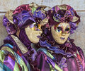 Venice italy february th portrait two persons traditional masks costumes venice carnival days Royalty Free Stock Image