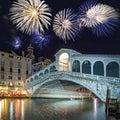 Venice Italy, fireworks over the Rialto bridge Royalty Free Stock Photo