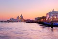 Venice, Italy. Gondolas on Grand Canal at sunset Royalty Free Stock Photo