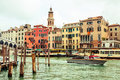 Venice italy grand canal in with some water taxis and public ferry transporation vaporetto Stock Photography