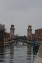 VENICE, ITALY. JANUARY 05, 2016 - Cloudy day in Venice. Drizzling light rain. Venetian Arsenal is one of the symbols of the city. Royalty Free Stock Photo