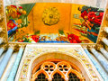 Venice, Italy - May 10, 2014: The detail of a byzantine mosaic placed over one entrance in St. Mark Basilica Royalty Free Stock Photo