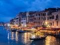 Venice, Italy - 20 May 2105: View from the Rialto Bridge at dusk Royalty Free Stock Photo