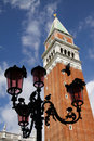 Venice Italy- Pigeons Lampost Campanile Royalty Free Stock Photography