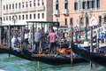 Venetian gondoliers at the marina of the gondolas, Grand Canal.Venice, Italy Royalty Free Stock Photo