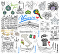 Venice Italy sketch elements. Hand drawn set with flag, map, gondolas gondolier clouth , houses, pizza, traditional sweets, carniv Royalty Free Stock Photo