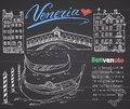 Venice Italy sketch elements. Hand drawn set with flag, map, gondolas, houses, market bridge. Lettering Venice, welcome in Italian Royalty Free Stock Photo