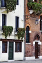 Venice italy windows with flowers on background Stock Image