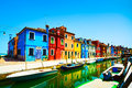 Venice landmark burano canal italy island colorful houses and boats long exposure photography Royalty Free Stock Photos