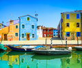 Venice landmark burano island canal colorful houses and boats italy long exposure photography Royalty Free Stock Photography