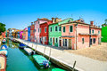 Venice landmark burano island canal colorful houses and boats italy long exposure photography Royalty Free Stock Image