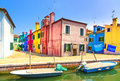 Venice landmark burano island canal colorful houses and boats italy long exposure photography Stock Image