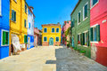 Venice landmark burano island street colorful houses italy europe Stock Photo