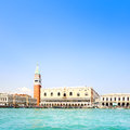 Venice landmark piazza san marco with campanile and doge palace italy view from sea of or st mark square ducale or europe Royalty Free Stock Photography