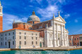 Venice landmark, view from sea of Piazza San Marco or st Mark square, Campanile and Ducale or Doge Palace with some Royalty Free Stock Photo