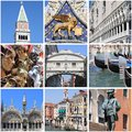 Venice landmarks collage Royalty Free Stock Photo