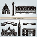 Venice landmarks and monuments isolated on blue background in editable vector file Royalty Free Stock Photography